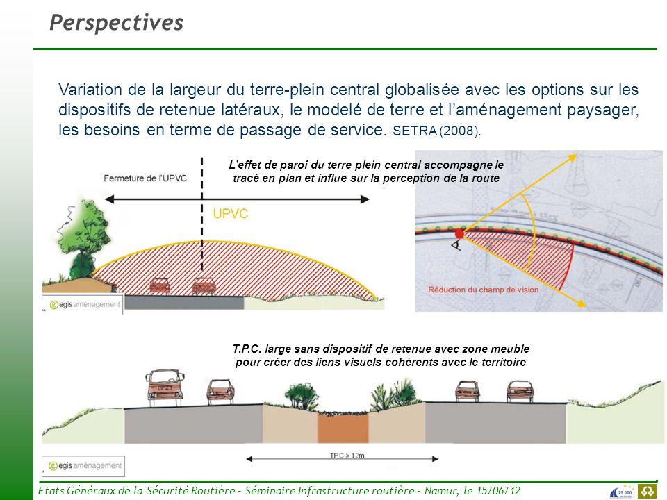 16 Etats Généraux de la Sécurité Routière – Séminaire Infrastructure routière - Namur, le 15/06/12 Perspectives Variation de la largeur du terre-plein