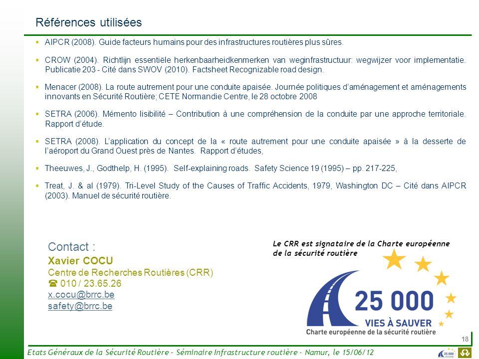 18 Etats Généraux de la Sécurité Routière – Séminaire Infrastructure routière - Namur, le 15/06/12 Références utilisées AIPCR (2008). Guide facteurs h