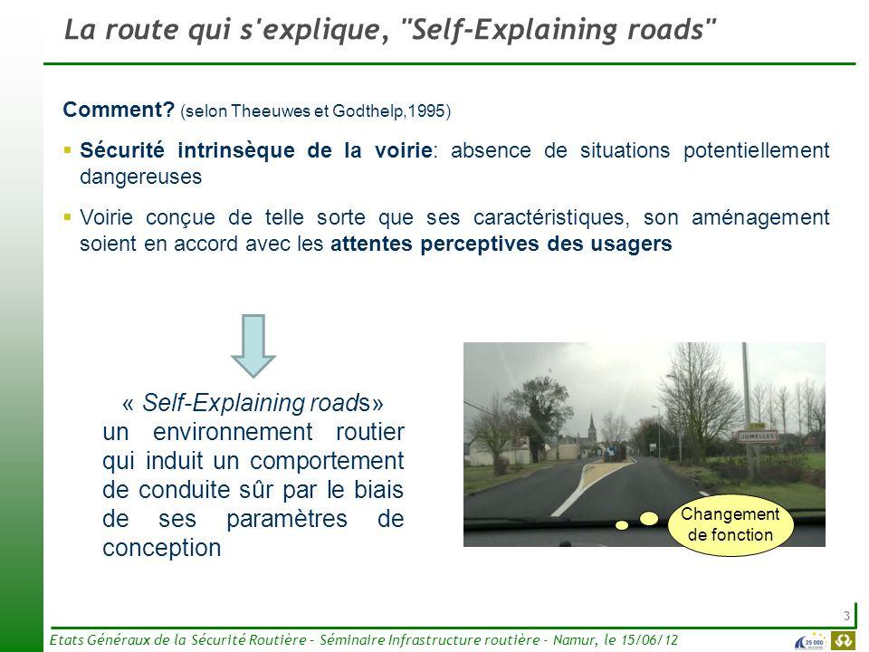 3 Etats Généraux de la Sécurité Routière – Séminaire Infrastructure routière - Namur, le 15/06/12 La route qui s'explique,