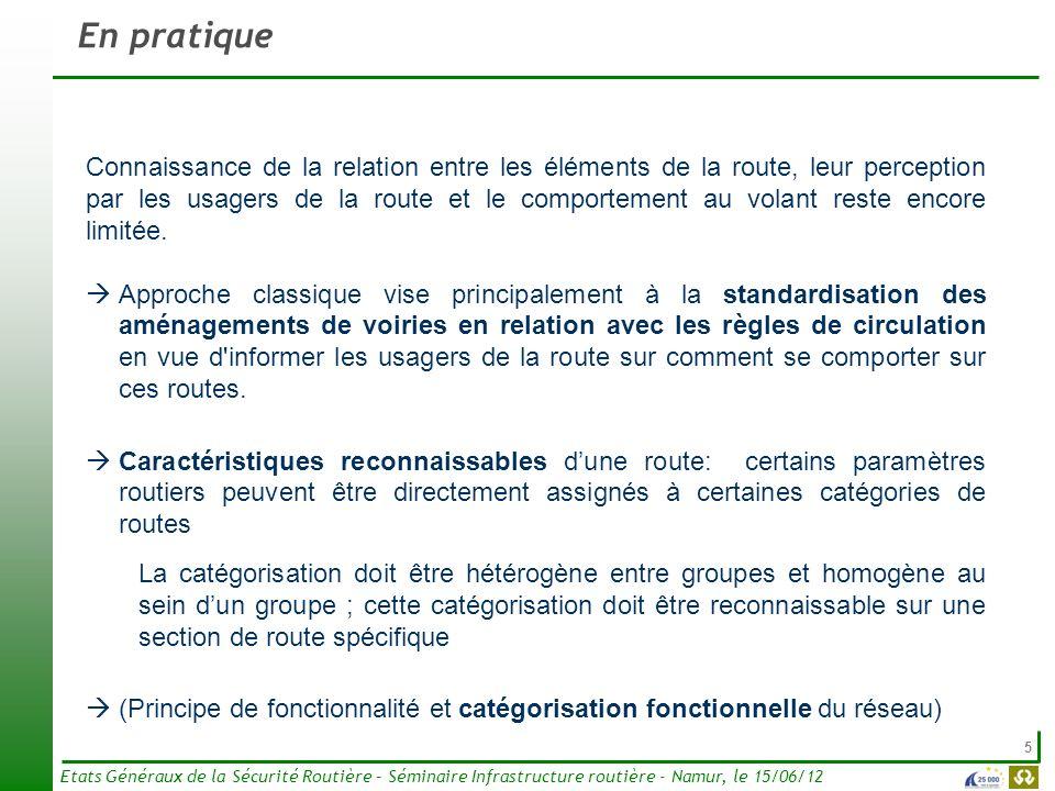 6 Etats Généraux de la Sécurité Routière – Séminaire Infrastructure routière - Namur, le 15/06/12 Exemple Caractéristiques reconnaissables essentielles telles que proposées aux Pays-Bas (CROW, 2004) Fonction Eléments routiers