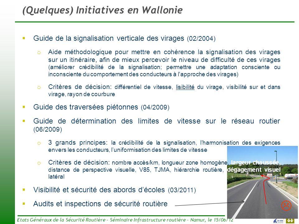 8 Etats Généraux de la Sécurité Routière – Séminaire Infrastructure routière - Namur, le 15/06/12 (Quelques) Initiatives en Wallonie Guide de la signa
