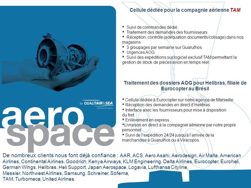 Cellule dédiée pour la compagnie aérienne TAM Suivi de commandes dédié. Traitement des demandes des fournisseurs. Réception, contrôle (adéquation docu