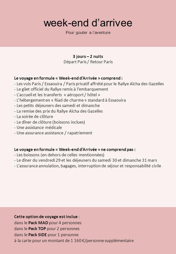 week-end darrivee Pour gouter a laventure 3 jours – 2 nuits Départ Paris / Retour Paris Le voyage en formule « Week-end dArrivée » comprend : - Les vo