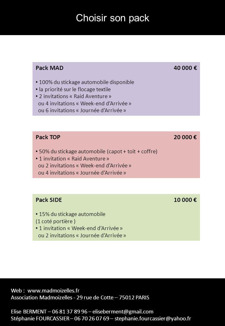 Pack MAD 40 000 100% du stickage automobile disponible la priorité sur le flocage textile 2 invitations « Raid Aventure » ou 4 invitations « Week-end dArrivée » ou 6 invitations « Journée dArrivée » Pack TOP 20 000 50% du stickage automobile (capot + toit + coffre) 1 invitation « Raid Aventure » ou 2 invitations « Week-end dArrivée » ou 4 invitations « Journée dArrivée » Pack SIDE 10 000 15% du stickage automobile (1 coté portière ) 1 invitation « Week-end dArrivée » ou 2 invitations « Journée dArrivée » Choisir son pack Web : www.madmoizelles.fr Association Madmoizelles - 29 rue de Cotte – 75012 PARIS Elise BERMENT – 06 81 37 89 96 – eliseberment@gmail.com Stéphanie FOURCASSIER – 06 70 26 07 69 – stephanie.fourcassier@yahoo.fr