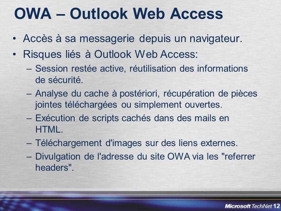 12 OWA – Outlook Web Access Accès à sa messagerie depuis un navigateur.