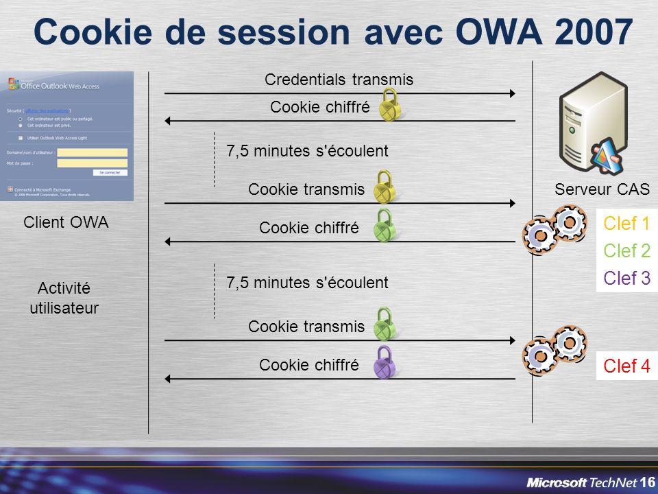 16 Cookie de session avec OWA 2007 Client OWA Serveur CAS Credentials transmis Cookie chiffré 7,5 minutes s écoulent Cookie transmis Clef 1 Clef 2 Clef 3 Cookie chiffré Cookie transmis Cookie chiffré 7,5 minutes s écoulent Clef 4 Activité utilisateur