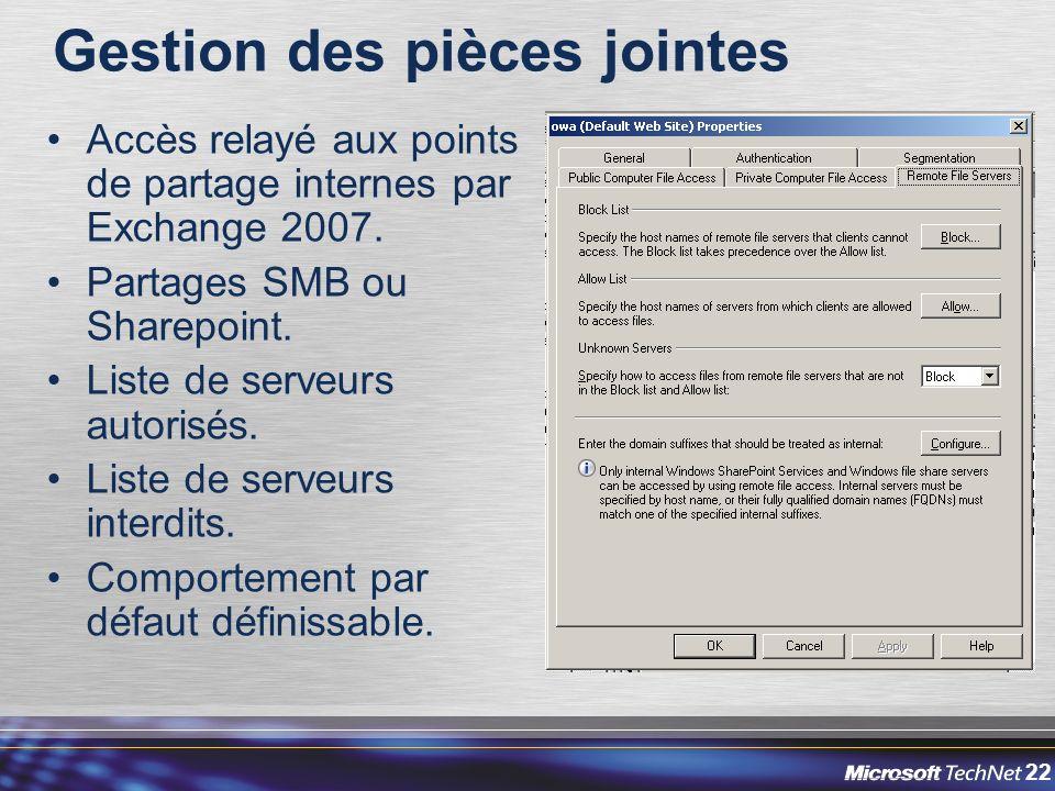 22 Gestion des pièces jointes Accès relayé aux points de partage internes par Exchange 2007.