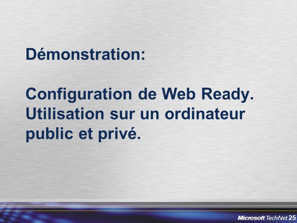 25 Démonstration: Configuration de Web Ready. Utilisation sur un ordinateur public et privé.