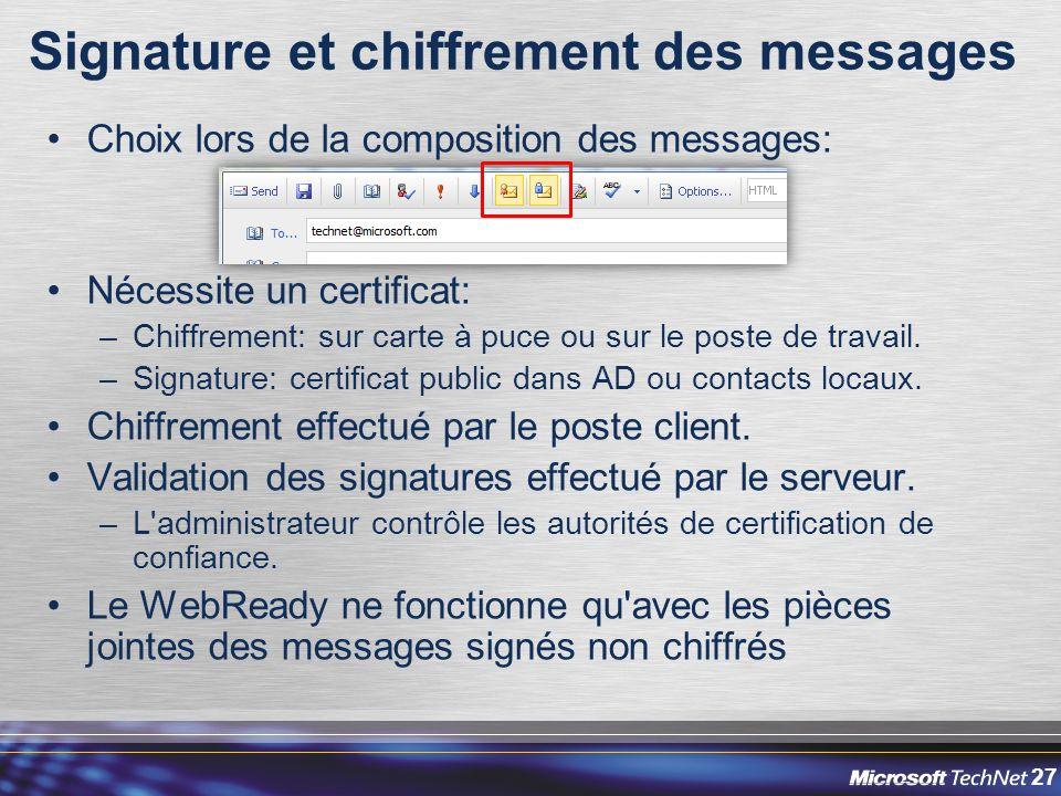 27 Signature et chiffrement des messages Choix lors de la composition des messages: Nécessite un certificat: –Chiffrement: sur carte à puce ou sur le poste de travail.