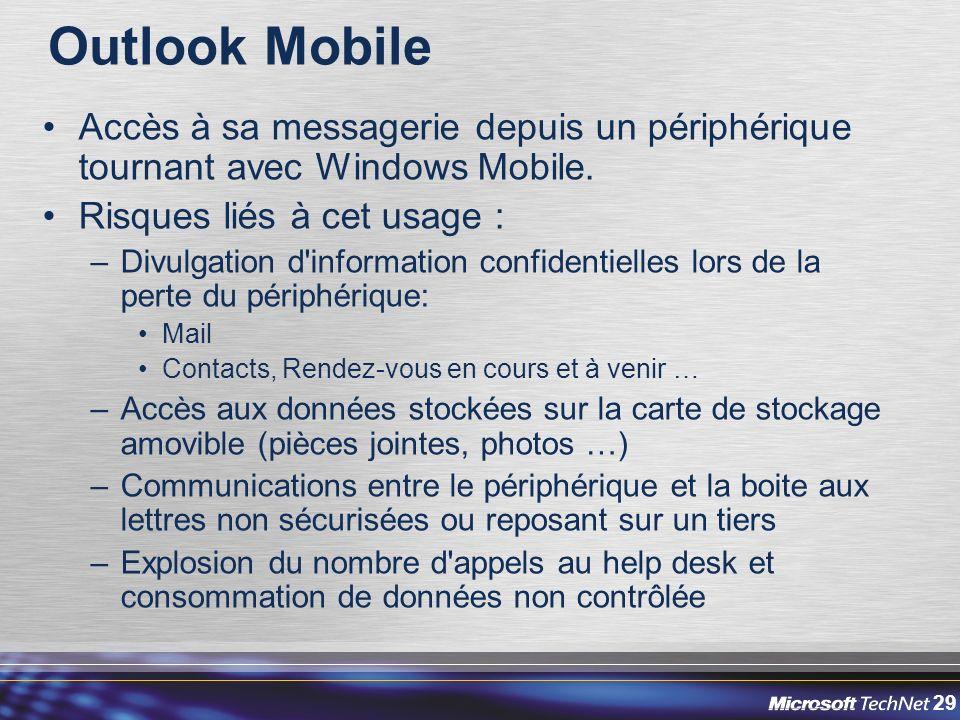 29 Outlook Mobile Accès à sa messagerie depuis un périphérique tournant avec Windows Mobile.
