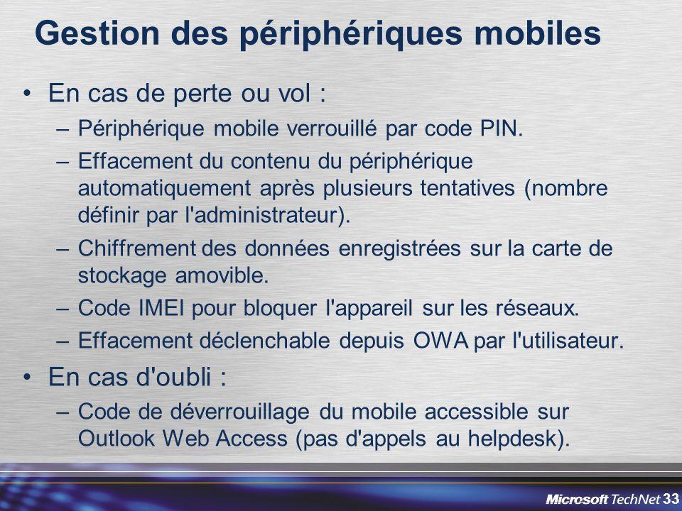 33 Gestion des périphériques mobiles En cas de perte ou vol : –Périphérique mobile verrouillé par code PIN.