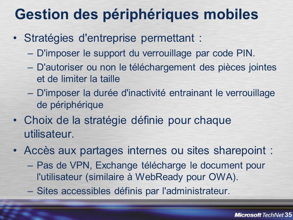 35 Gestion des périphériques mobiles Stratégies d entreprise permettant : –D imposer le support du verrouillage par code PIN.
