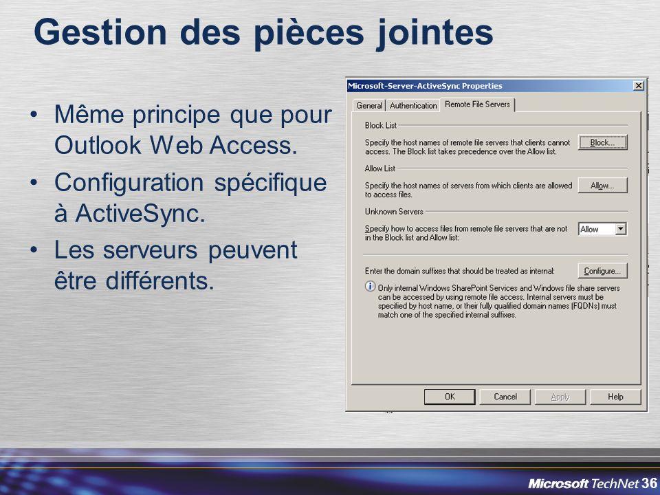 36 Gestion des pièces jointes Même principe que pour Outlook Web Access.