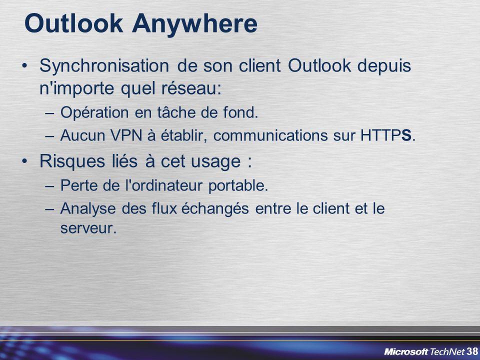 38 Outlook Anywhere Synchronisation de son client Outlook depuis n importe quel réseau: –Opération en tâche de fond.