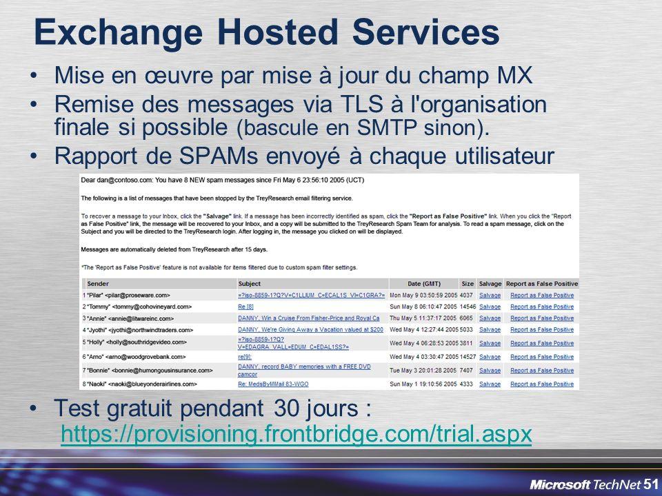 51 Exchange Hosted Services Mise en œuvre par mise à jour du champ MX Remise des messages via TLS à l organisation finale si possible (bascule en SMTP sinon).