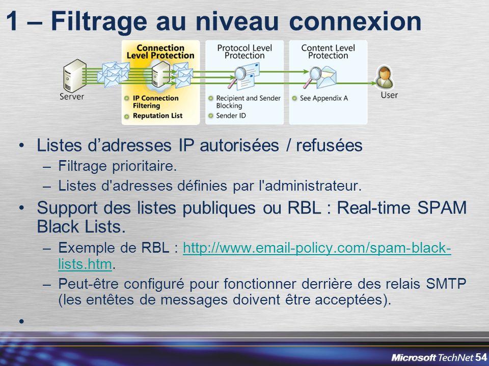 54 1 – Filtrage au niveau connexion Listes dadresses IP autorisées / refusées –Filtrage prioritaire.