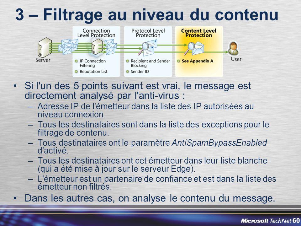 60 3 – Filtrage au niveau du contenu Si l un des 5 points suivant est vrai, le message est directement analysé par l anti-virus : –Adresse IP de l émetteur dans la liste des IP autorisées au niveau connexion.