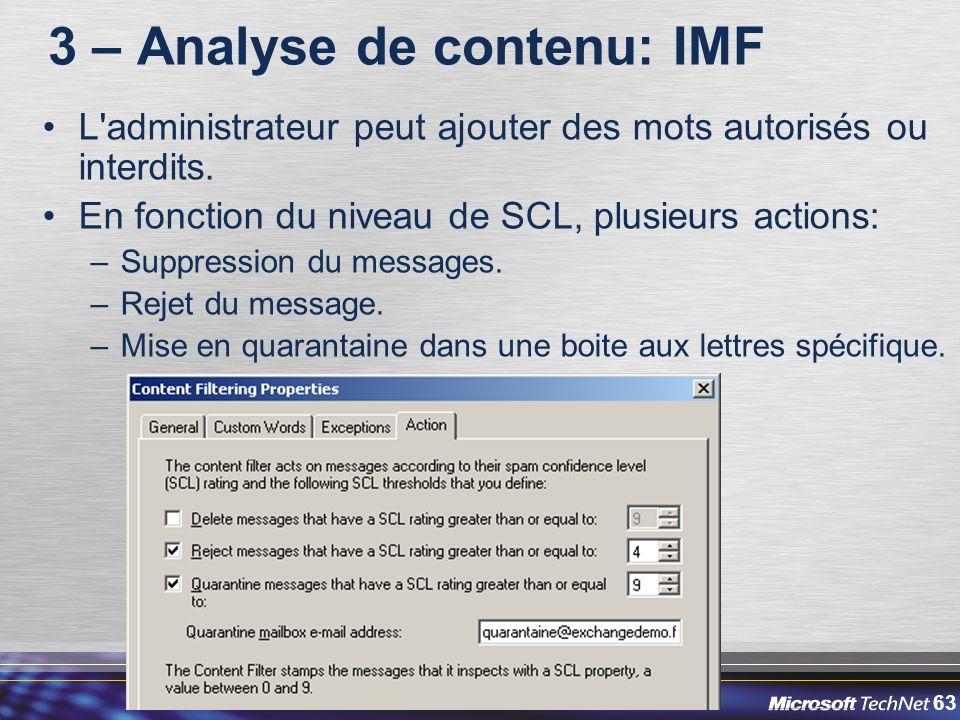 63 3 – Analyse de contenu: IMF L administrateur peut ajouter des mots autorisés ou interdits.