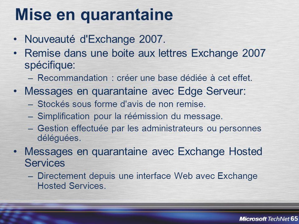 65 Mise en quarantaine Nouveauté d Exchange 2007.