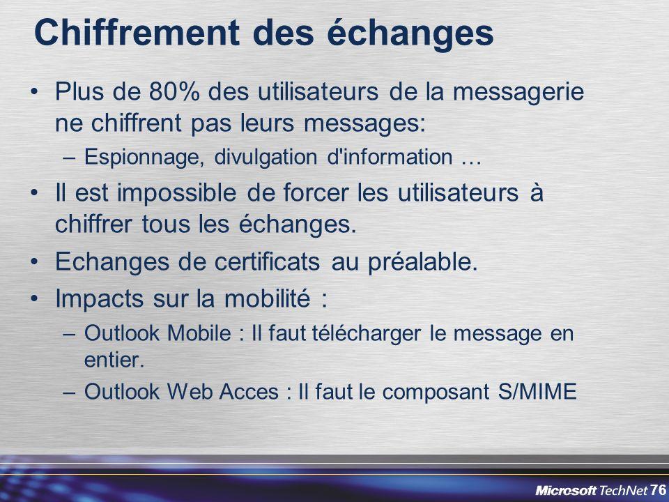 76 Chiffrement des échanges Plus de 80% des utilisateurs de la messagerie ne chiffrent pas leurs messages: –Espionnage, divulgation d information … Il est impossible de forcer les utilisateurs à chiffrer tous les échanges.