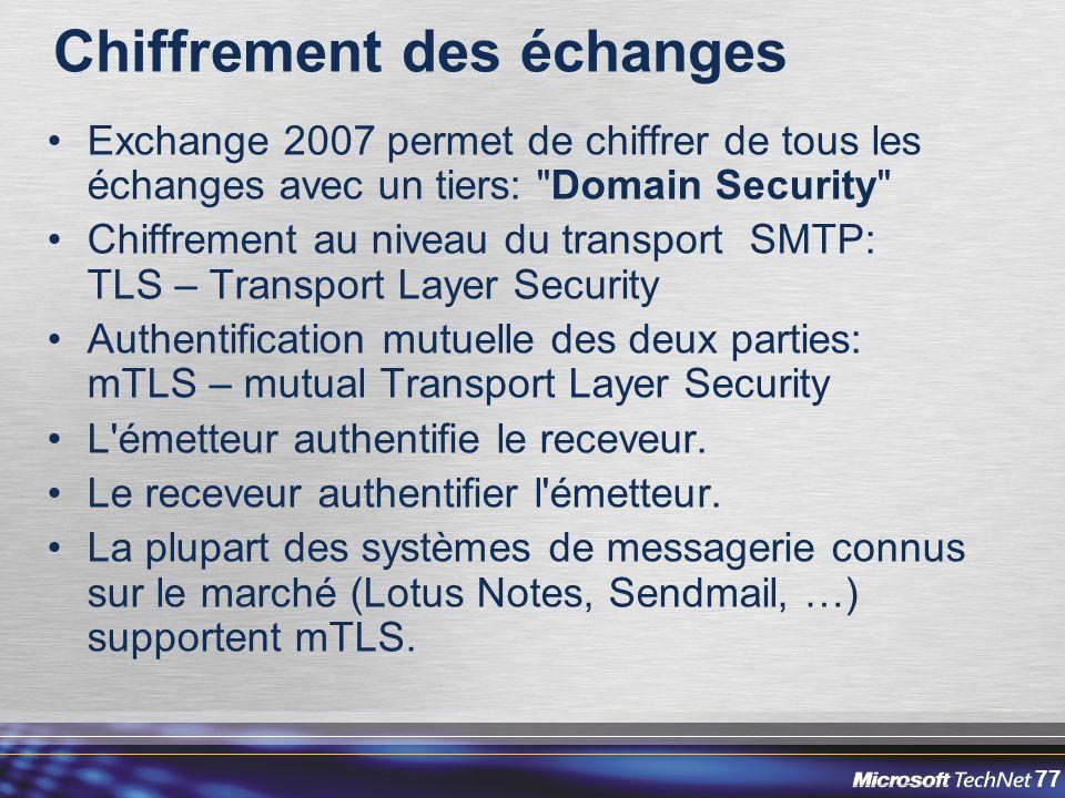 77 Chiffrement des échanges Exchange 2007 permet de chiffrer de tous les échanges avec un tiers: Domain Security Chiffrement au niveau du transport SMTP: TLS – Transport Layer Security Authentification mutuelle des deux parties: mTLS – mutual Transport Layer Security L émetteur authentifie le receveur.