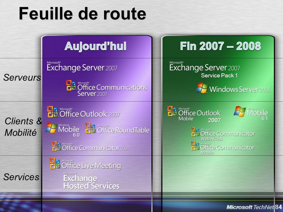 84 Feuille de route Serveurs Clients & Mobilité Services Service Pack 1 6.0 2007 6.1