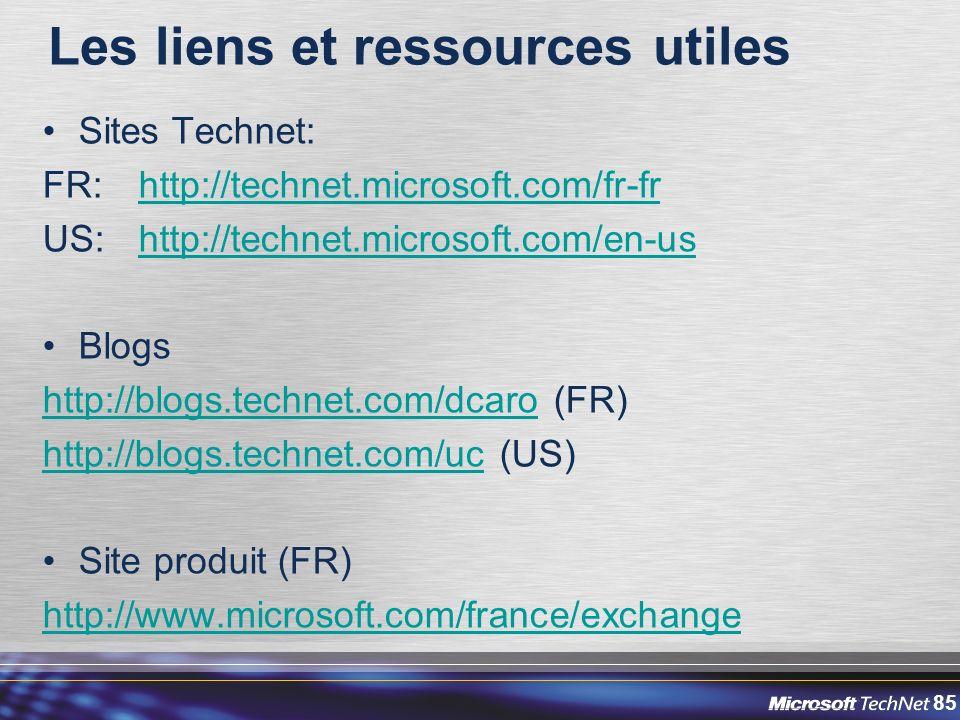 85 Les liens et ressources utiles Sites Technet: FR:http://technet.microsoft.com/fr-frhttp://technet.microsoft.com/fr-fr US:http://technet.microsoft.com/en-ushttp://technet.microsoft.com/en-us Blogs http://blogs.technet.com/dcarohttp://blogs.technet.com/dcaro (FR) http://blogs.technet.com/uchttp://blogs.technet.com/uc (US) Site produit (FR) http://www.microsoft.com/france/exchange