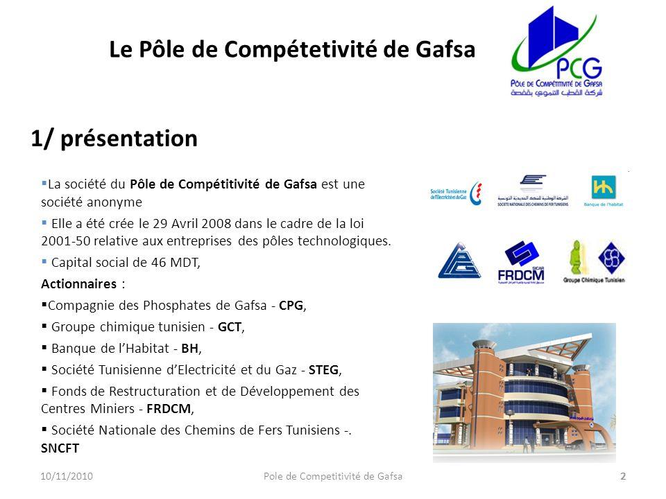 La société du Pôle de Compétitivité de Gafsa est une société anonyme Elle a été crée le 29 Avril 2008 dans le cadre de la loi 2001-50 relative aux ent