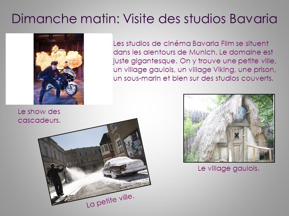 Dimanche matin: Visite des studios Bavaria Les studios de cinéma Bavaria Film se situent dans les alentours de Munich.
