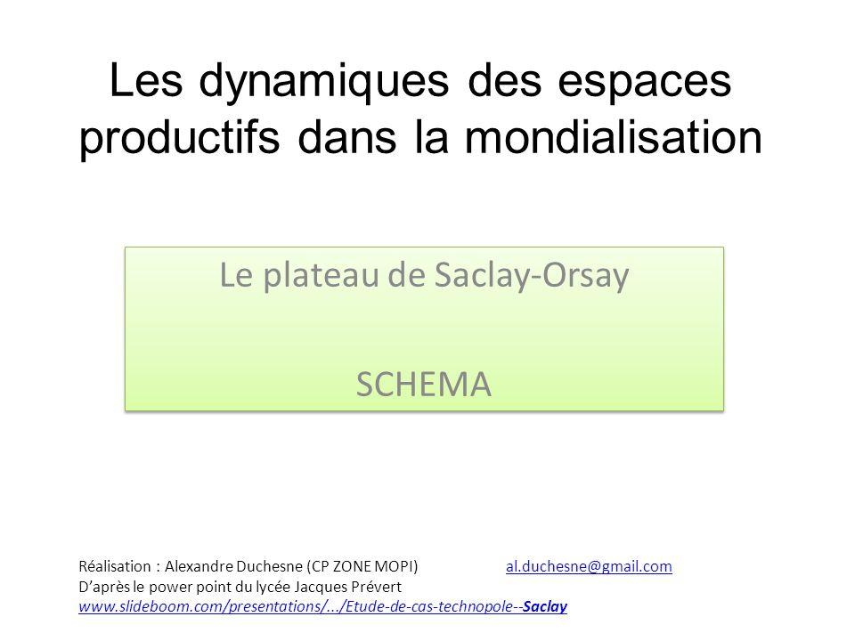 Les dynamiques des espaces productifs dans la mondialisation Le plateau de Saclay-Orsay SCHEMA Le plateau de Saclay-Orsay SCHEMA Réalisation : Alexand