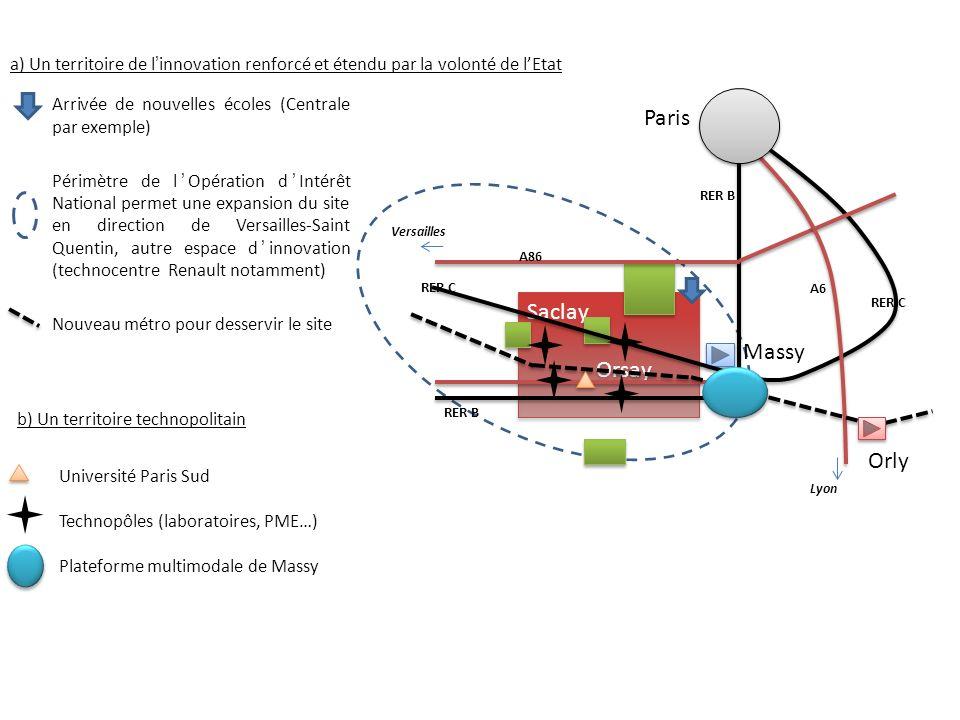 3) Lobjectif : créer un cercle vertueux du dynamisme Lamélioration des capacités dinnovation doit permettre : lamélioration du rayonnement mondial … doù lattraction de nouveaux investissements… doù création demplois directs et induits et amélioration de la richesse de la région et du pays permettant de développer de nouvelles capacités dinnovation… Saclay Orsay Saclay Orsay Paris Orly Massy A86 A6 RER B RER C RER B Versailles Lyon RER C + + + + + + + +