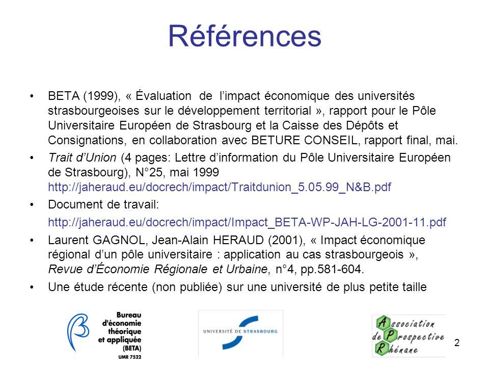 2 Références BETA (1999), « Évaluation de limpact économique des universités strasbourgeoises sur le développement territorial », rapport pour le Pôle