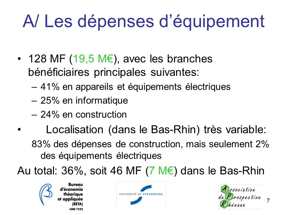 7 A/ Les dépenses déquipement 128 MF (19,5 M), avec les branches bénéficiaires principales suivantes: –41% en appareils et équipements électriques –25
