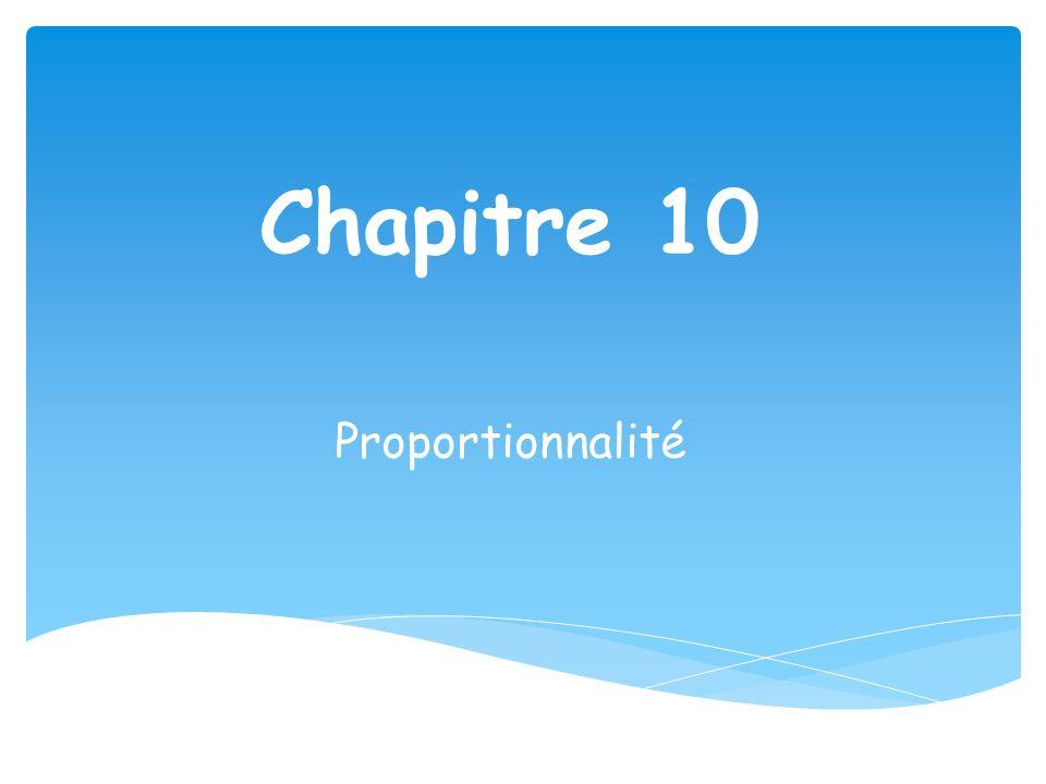 Chapitre 10 Proportionnalité
