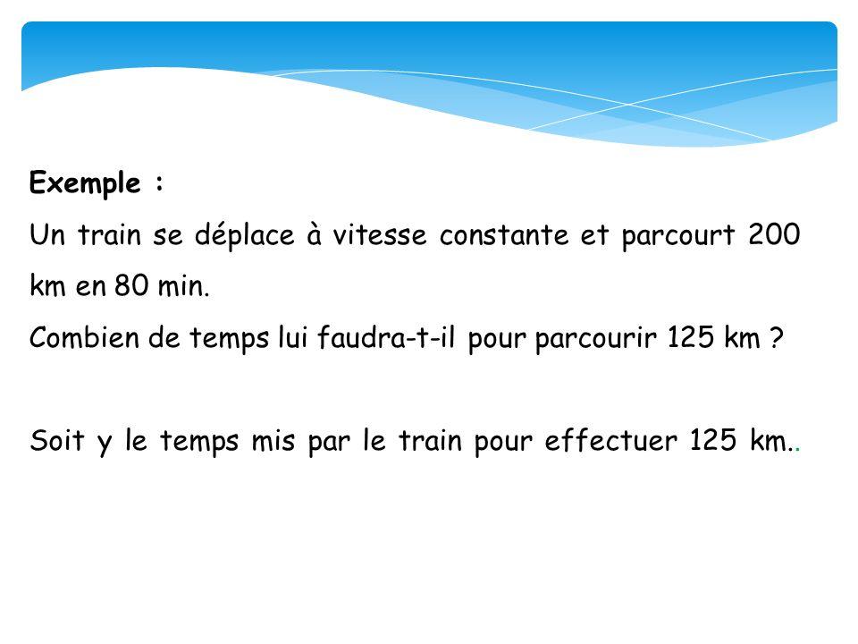 Exemple : Un train se déplace à vitesse constante et parcourt 200 km en 80 min. Combien de temps lui faudra-t-il pour parcourir 125 km ? Soit y le tem