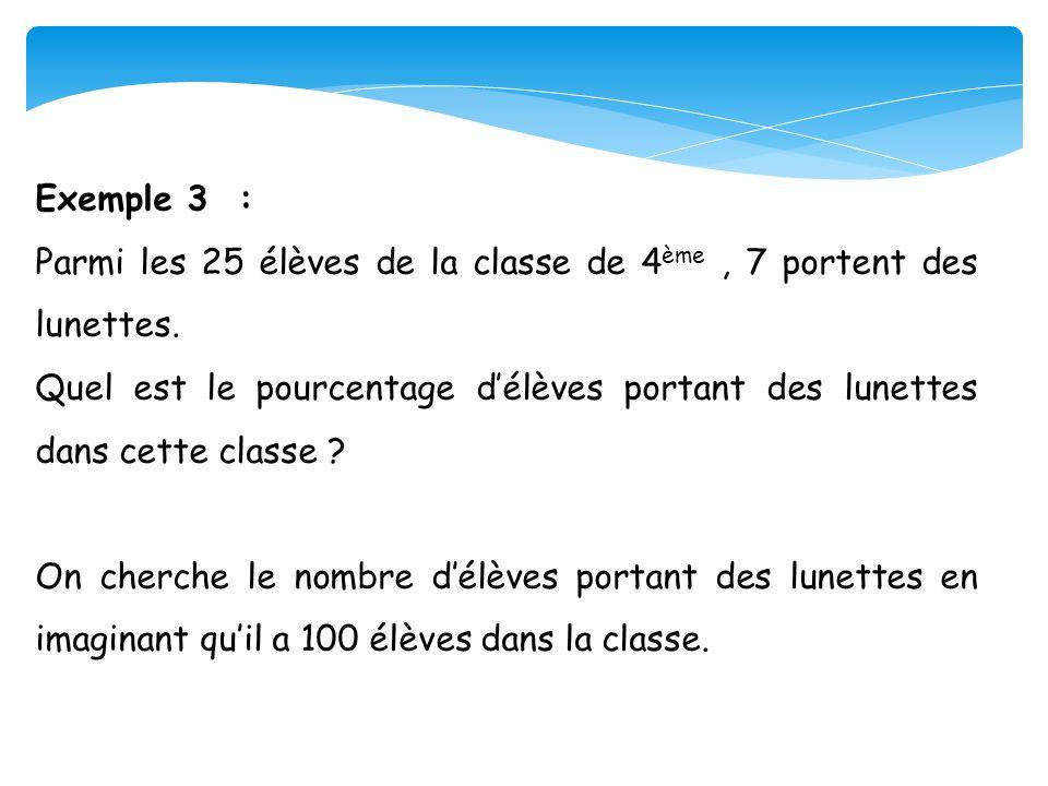 Exemple 3 : Parmi les 25 élèves de la classe de 4 ème, 7 portent des lunettes. Quel est le pourcentage délèves portant des lunettes dans cette classe