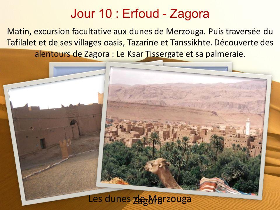 Jour 9 : Fès - Midelt - Erfoud Départ pour Erfoud à travers le Moyen-Atlas. Traversée du Haut Atlas en longeant les gorges du Ziz et leur palmeraie...