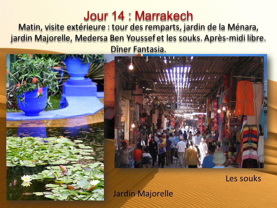 Après-midi : Visite de la ville historique de Marrakech : La Koutoubia, palais de la Bahia, tombeaux Saadiens, musée et traversée de la place Djemaa E