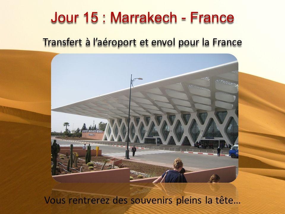 Jour 14 : Marrakech Matin, visite extérieure : tour des remparts, jardin de la Ménara, jardin Majorelle, Medersa Ben Youssef et les souks. Après-midi