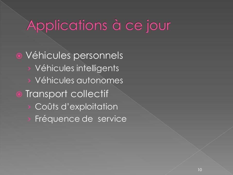 Véhicules personnels Véhicules intelligents Véhicules autonomes Transport collectif Coûts dexploitation Fréquence de service 10