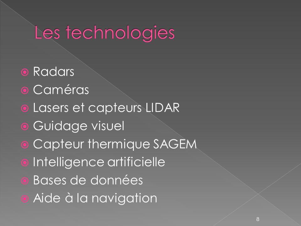 Radars Caméras Lasers et capteurs LIDAR Guidage visuel Capteur thermique SAGEM Intelligence artificielle Bases de données Aide à la navigation 8