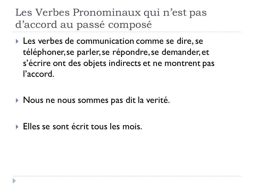 Les Verbes Pronominaux qui nest pas daccord au passé composé Les verbes de communication comme se dire, se téléphoner, se parler, se répondre, se dema