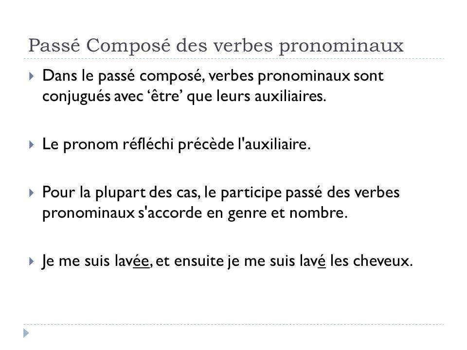 Passé Composé des verbes pronominaux Dans le passé composé, verbes pronominaux sont conjugués avec être que leurs auxiliaires. Le pronom réfléchi préc