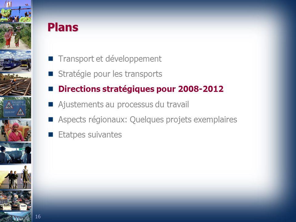 16 Transport et développement Stratégie pour les transports Directions stratégiques pour 2008-2012 Ajustements au processus du travail Aspects régionaux: Quelques projets exemplaires Etatpes suivantes Plans