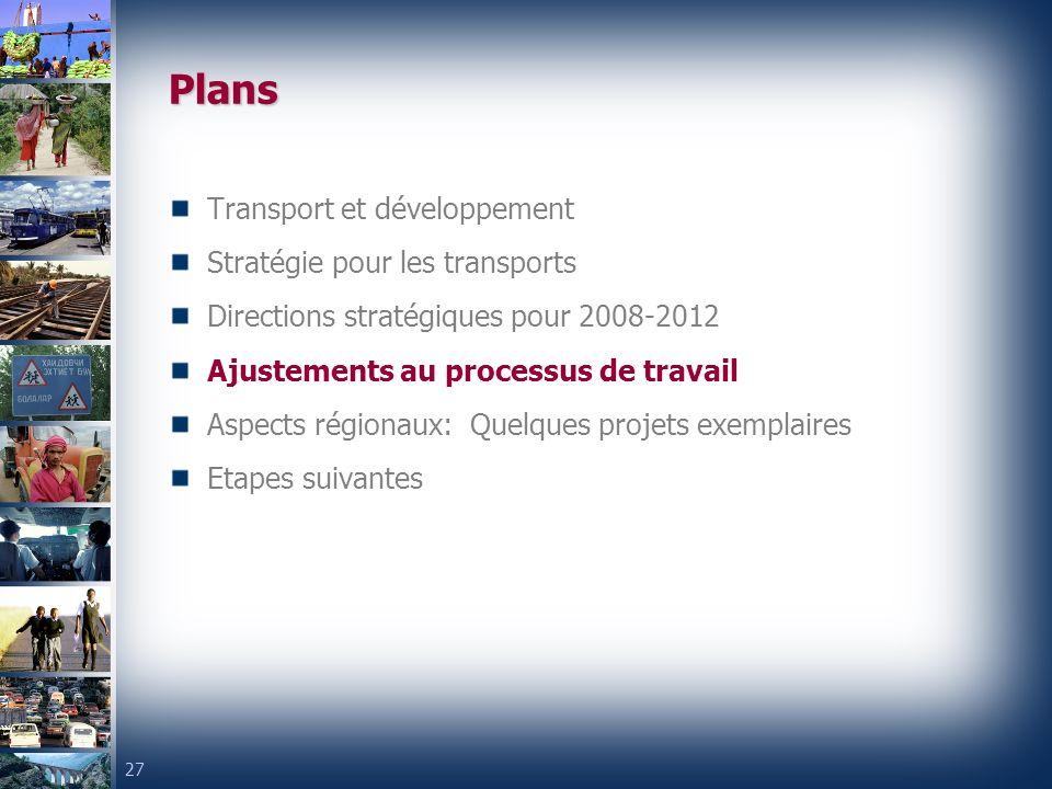 27 Plans Transport et développement Stratégie pour les transports Directions stratégiques pour 2008-2012 Ajustements au processus de travail Aspects régionaux: Quelques projets exemplaires Etapes suivantes