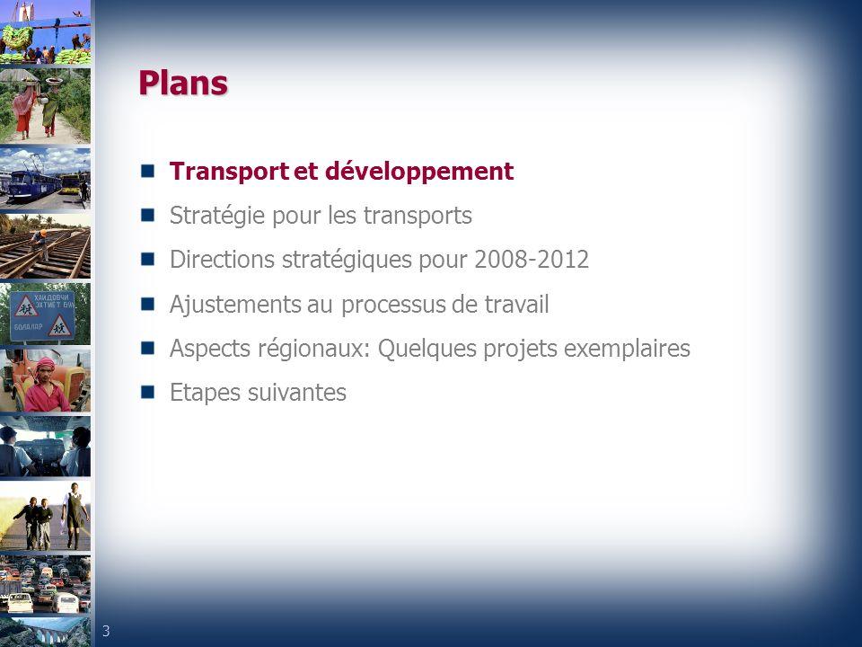 3 Plans Transport et développement Stratégie pour les transports Directions stratégiques pour 2008-2012 Ajustements au processus de travail Aspects régionaux: Quelques projets exemplaires Etapes suivantes