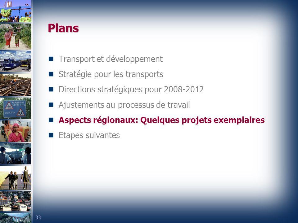 33 Plans Transport et développement Stratégie pour les transports Directions stratégiques pour 2008-2012 Ajustements au processus de travail Aspects régionaux: Quelques projets exemplaires Etapes suivantes