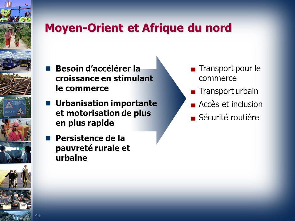 44 Moyen-Orient et Afrique du nord Besoin daccélérer la croissance en stimulant le commerce Urbanisation importante et motorisation de plus en plus rapide Persistence de la pauvreté rurale et urbaine Transport pour le commerce Transport urbain Accès et inclusion Sécurité routière