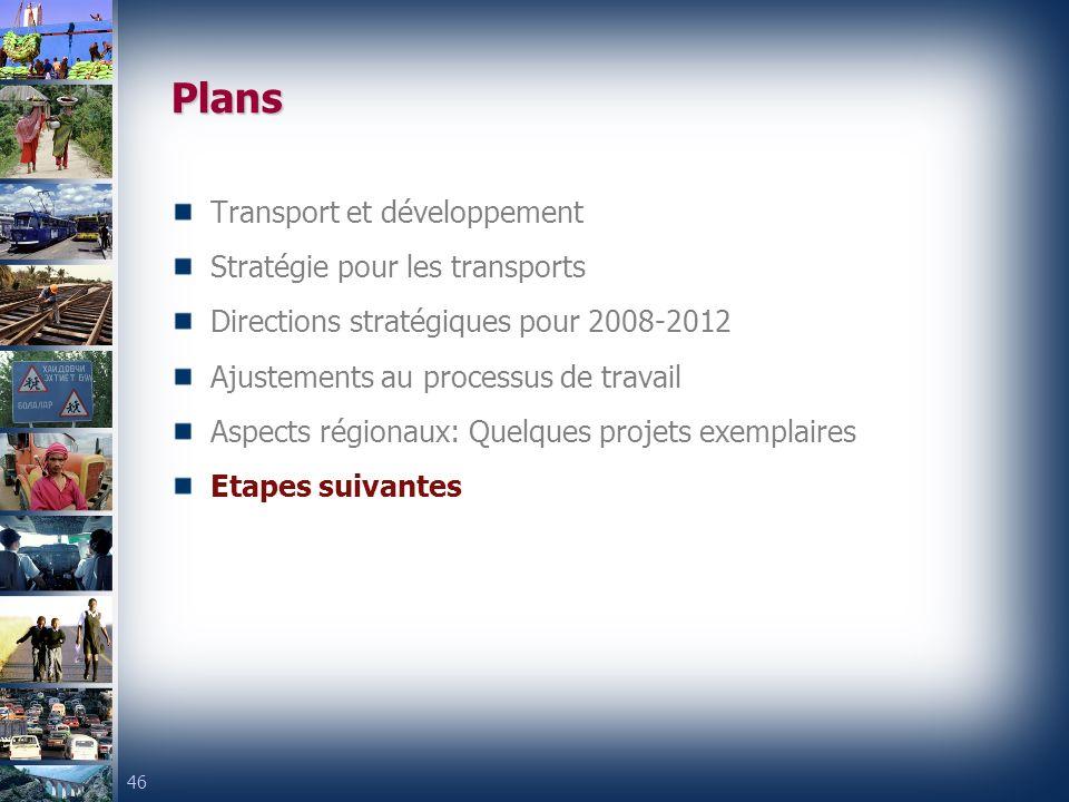 46 Plans Transport et développement Stratégie pour les transports Directions stratégiques pour 2008-2012 Ajustements au processus de travail Aspects régionaux: Quelques projets exemplaires Etapes suivantes