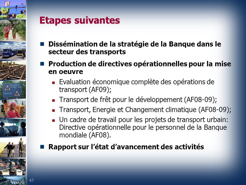 47 Etapes suivantes Dissémination de la stratégie de la Banque dans le secteur des transports Production de directives opérationnelles pour la mise en oeuvre Evaluation économique complète des opérations de transport (AF09); Transport de frêt pour le développement (AF08-09); Transport, Energie et Changement climatique (AF08-09); Un cadre de travail pour les projets de transport urbain: Directive opérationnelle pour le personnel de la Banque mondiale (AF08).